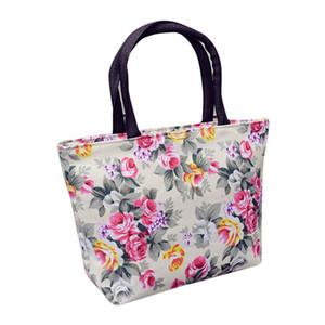 Mujeres de la manera Niñas Impresión Lienzo Compras Bolso Hombro Tote Shopper mujeres sólidas bolso de embrague mujeres sobre bolsa