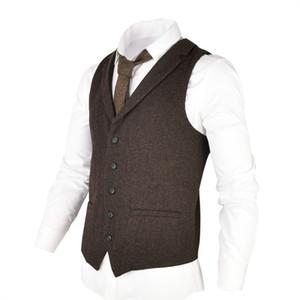 VOBOOM Woolen TSuit Gilet pour Hommes Herringbone Slim Fit Mélange de Laine Gilet à simple boutonnage Café Brun 018