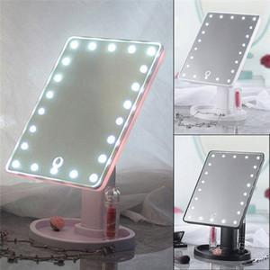 22 LED شاشة تعمل باللمس مرايا ماكياج المهنية قابل للتعديل 360 تناوب الصمام ضوء مرآة مستحضرات التجميل تشكل مرايا كونترتوب