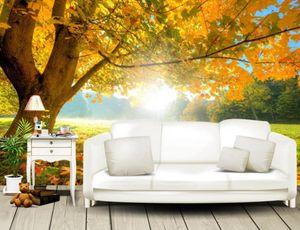 Современный клен, осенний лес, солнечный свет обои фрески фото настенные фрески 3d обои гостиная тв фон walpaper