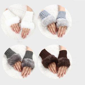 Guanti elegante mano calda inverno senza dita guanto signore faux woolen crochet lavorato a maglia guanto da polso per le donne delle ragazze