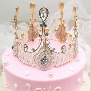 Cake Topper Lace Rhinestone Crown Cupcake Topper Bling Cake Decorating Supplies Decorazioni per feste di compleanno Regali carino per bambini