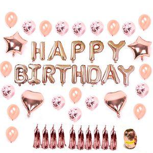 1 Set Rose Gold Star Heart Foil Balloons Air Wedding Ballon Helium Balloon Happy Birthday Party Decoration Free Shipping