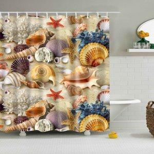 Новый дизайн Новые красочные Экологичные Занавески для душа Пляж Раковины Морская звезда Shell полиэстер высокого качества Washable Ванна Декор