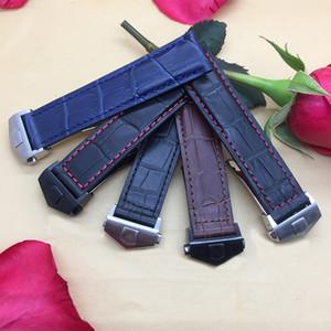 Yeni varış kalite hakiki deri watchband 19mm 20mm 22mm siyah kahverengi mavi saat kayışı bilezik