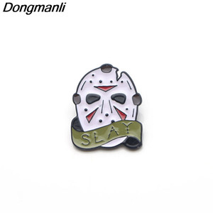 P3008 Dongmanli sexta-feira a 13 máscara de esmalte pinos e broches para mulheres homens lapela pinos sacos de mochila crachá presentes