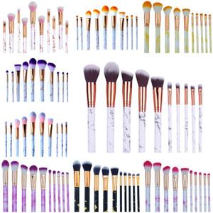 10 adet / takım Kabuki Fırçalar Profesyonel Makyaj Fırçalar Ebru Kolu Göz Farı Kaş Mermer Makup Fırça Araçları Makyaj Fırçalar Set 9 Renkler