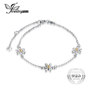 JewelryPalace Çiçekler Düzenlendi Turuncu Safir Ayak Bileği Bilezik 925 Ayar Gümüş Romantik Takı Aksesuarları en iyi hediye S18101507
