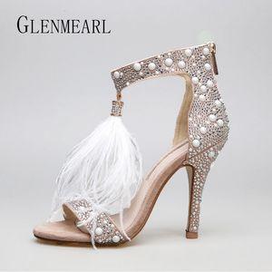 Genuine Leather Women Sandals Pumps Summer  Fur Rhinestone Feather High Heel White Women Wedding Pumps Shoes Plus Size 36