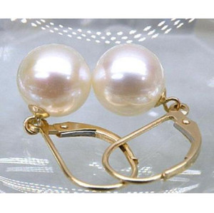 VERY HOT PERFECT ROUND 9-10 MM SOUTH SEA PEARL DANGLE EARRING 14K YELLOW GOLD