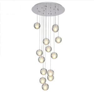 Modern LED Crystal Chandelier Large Bubble Crystal Lamps 14 Lights Hang Lustres De Cristal Stair Pendant Lighting Fixture
