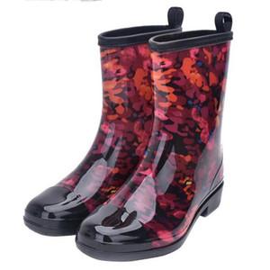 Yağmur Çizmeleri Kadın 2018 Karışık Renkler Bayanlar Lastik Çizme Moda Su Geçirmez Rainboot Kaymaz Düşük Topuk Kadın Ayakkabı