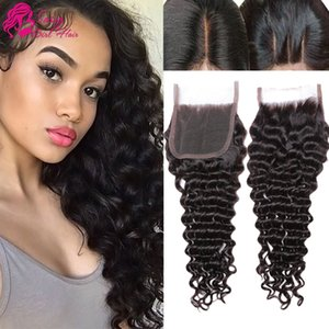 Brazilian Deep Wave Bleached Knots Human Hair 130% Density 4x4 Lace Closure with Baby Hair (8