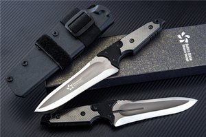 Sakura Survival Straight Knife D2 Titanium Coated + Satin Blade G10 + Carbon Fiber Handle Fixed Blade Knives With Kydex
