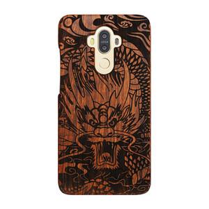 إلى Huawei mate9 / mate10 / Honor 7 Wooden Case، Wood Smartphone Case، الخشب الصلب النقش بالليزر الخشب الصلب الطبيعي القضية (التنين)