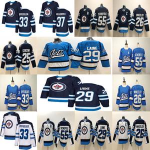 Winnipeg Jets 29 Patrik Laine 26 Blake Wheeler 33 DustinByfuglien 55 Mark Scheifele 25 Stastny 37 Hellebuyck hockey Jersey