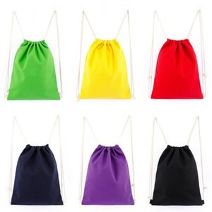 Saco de pano bens no estoque da fábrica Corda Canvas Puxando mochila Pull em branco Corda Bundle bolso T7D048