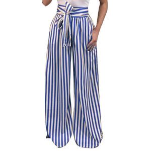 KLV Newly 2018 Femmes Rayé Taille Haute Sarouel Femmes Bandage Taille Élastique Pantalon Décontracté Dropshipping F28