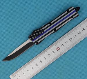 Drapeau bleu 7 pouces 616 mini couteau tactique automatique 440C simple bord Drop Point fine lame noire EDC couteaux de poche