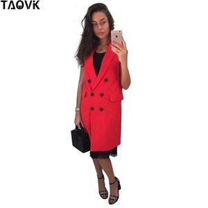TAOVK yeni moda kadınlar Sonbahar Yelek Kırmızı Beyaz Pembe ve Sarı yaka düz renk yelek ceket