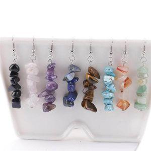 Natürliche Heilung Crystal Sodalith Chip Edelstein baumeln Ohrringe natürliche gemischte Edelstein Chakra Frauen Modeschmuck Liebhaber Geschenk