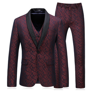 2018 New  Fashion Men Suits Blazers Red printing Slim Fit Suit Formal Wedding Business Male Tuxedos Groom Prom Party Suit