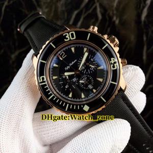 Cinqüênta Braças 50 Braças 5085F-3630-52 Preto Dial Quartz Chronograph Mens Watch Rose Pulseira De Couro Dourado de Alta Qualidade Relógios