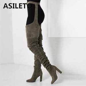 ASILETO 유럽 여성용 무릎 부츠 슈즈 Pointed zipper 하이힐 여성화 긴 허벅지 하이 부츠