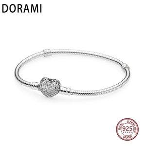 DORAMI القلب الأفعى المرأة سوار حقيقي 100 ٪ S925 الفضة النقية باندور النسخة الأصلية لديها شعار الإسورة مجوهرات كلاسيكية