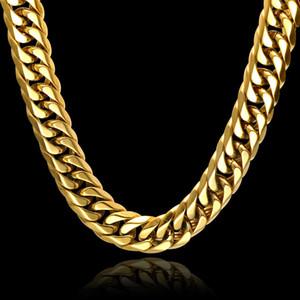 Collar de cadenas de plata / oro Joyería de hip hop Cadena de eslabones cubanos Colgantes Joyas para hombres Joyería de acero inoxidable Broche de garra de langosta