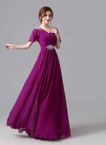 Слива на заказ Светло-голубой шифон Фиолетовый Длина пола платья невесты V-образным вырезом с коротким рукавом A-Line Свадебные платья для гостей