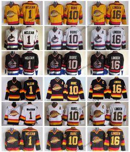 Vintage Vancouver Canucks Hockey Formalar Mens ucuz 16 Trevor Linden 1 Kirk Mclean 10 Pavel Bure Dikişli Hokey Gömlek M-XXXL