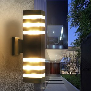 현대 방수 위로 아래로 알루미늄 옥외 LED 벽 전등 설비 듀얼 헤드 벽 램프 E27는 마당 현관 복도 발코니을위한 전구를 주도