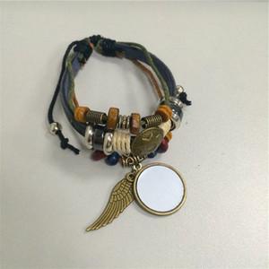 коровьей браслет для сублимации трикотажные ретро старинные крыло шарм браслеты ювелирные изделия пустые расходные материалы на заказ BX012 оптовые продажи