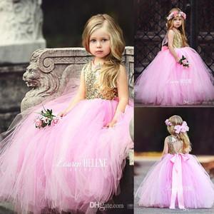 Pembe Altın Sequins Çiçek Kız 'Elbiseler Tül Katmanlı Etekler Geri Yay ile Kolsuz Jewel Çocuklar Prenses Doğum Günü Partisi Pageant elbise