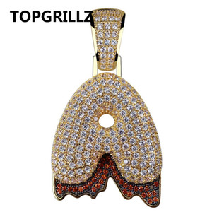 TOPGRILLZ A-Z Custom Bubble Blood Drip Letter Pendant Charm Necklace For Man and Women Gift Holloween Cosplay