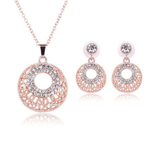 Earrings Necklace Jewelry Set Exquisite High Grade Fashion Women Rhinestone 18K Gold Plated Hollow Out Party Jewelry 2-Piece Set