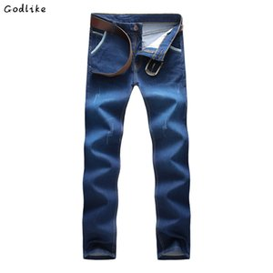 GODLIKE 2018Spring and Autumn Thin section Men's Fashion Casual Long Slim Slim Fit Jeans Men's fashion business casual pants.