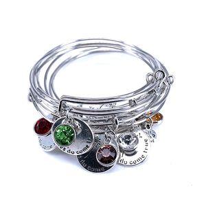 65 mm ajustable brazalete de alambre de acero Birthstone deseo ven verdadero amor pulsera del encanto de la joyería para mujeres regalo de la muchacha B18100
