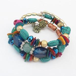 Marca Donna Boho Multilayer Beads Charm Bracciali per le donne Vintage Stone Stone Bracciali Bangles Pulseras Gioielli etnici