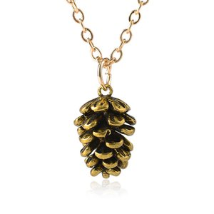 Tannenzapfen Anhänger Frauen Halsketten Tannenzapfen Anhänger Halsketten Bronze Silber Farben Pflanze Anhänger Legierung Schmuck Geschenk