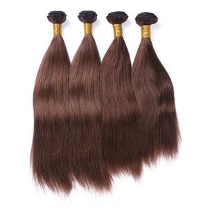 Brasileña Brown oscuro Extensiones de cabello humano doble de Wefted 4 piezas recta sedosa # 4 marrón de la Virgen de Remy del pelo humano de la armadura de paquetes