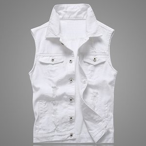 Trou Denim Gilet Hommes Blanc Jeans Gilet Gilets Solides Pour Hommes Fashions Été Sans Manches Veste 5xl Punk Biker Déchiré