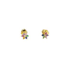 orecchino di perline a fiore margherita per orecchini di ragazza carina europea pandora arcobaleno colorato orecchini cubici in zirconi piccoli 5mm