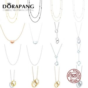 DORAPANG 100% 925 Sterling Silver Necklace Glamour Geometric Double Loop Pendant Basic Necklace Rose Gold & Gold Selection Gift
