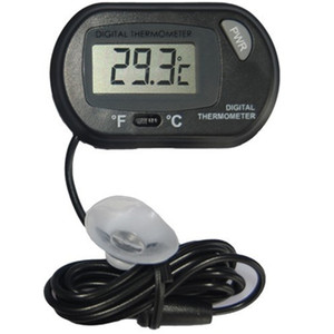 500pcs Mini Digital Fish Aquarium Thermometer Tank with Wired Sensor battery included in opp bag Black Yellow color for option lin3834