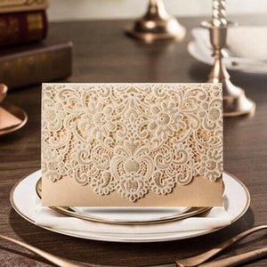 Royal Laser Cut Wedding Invitation Card Personalizado Impressão De Ouro Branco Marriage Invitation Cards Flora Favores