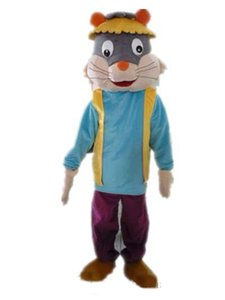 2018 Discount factory sale a cat mascot costume with a blue shirt and a hat for adult to wear