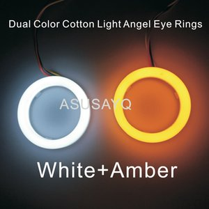 1 par 2 PCS Dupla Cor Farol Automotivo Halo Anéis Guia de Luz Olho de Anjo Do Carro de Algodão luz Angel Eyes SMD Com A Volta