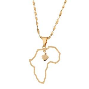 الذهب مطلي الفولاذ المقاوم للصدأ خريطة أفريقيا قلادة قلادة مجوهرات القلب سحر خريطة مجوهرات أفريقيا